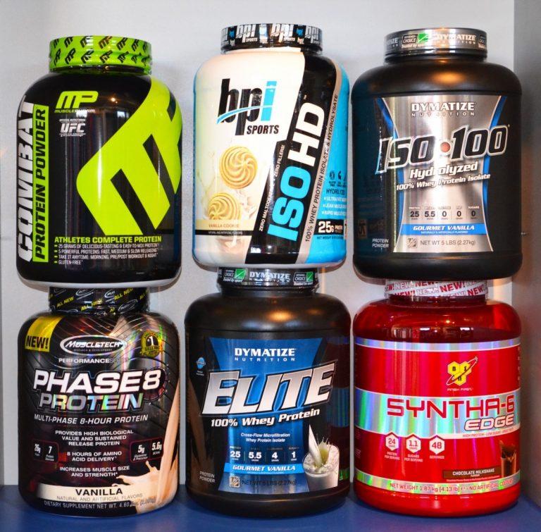 Variety of bodybuilding protein powders
